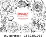 russian cuisine top view frame. ... | Shutterstock .eps vector #1592351083