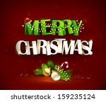 merry christmas inscription and ... | Shutterstock .eps vector #159235124