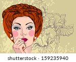 vector portrait of a beautiful... | Shutterstock .eps vector #159235940