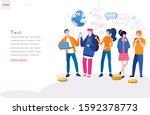 millennials  young people ... | Shutterstock .eps vector #1592378773