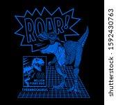 tyrannosaurus rex illustration  ... | Shutterstock .eps vector #1592430763