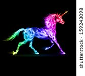Fire unicorn in spectrum colors on black background. - stock vector