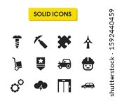 build icons set with tractor ...