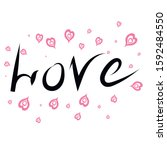 word love on a white background.... | Shutterstock .eps vector #1592484550
