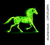 Illustration of green fire horse on black background.  - stock vector