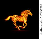 Illustration of running fire horse on black background. - stock vector