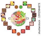 set of sukiyaki buffet lovers... | Shutterstock .eps vector #1592584873