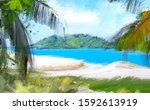 pacific ocean. tropical island... | Shutterstock . vector #1592613919
