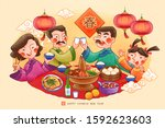 traditional lunar year reunion... | Shutterstock .eps vector #1592623603