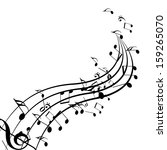 black music notes isolated on a ... | Shutterstock . vector #159265070