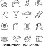 car service thin line icons set   Shutterstock .eps vector #1592694589