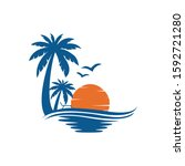 Palm Tree Logo With Sun Cloud...