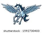 Pegasus Flying Horse. Majestic...