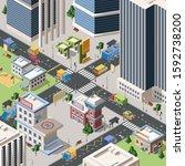 modern city crossroad detailed... | Shutterstock .eps vector #1592738200