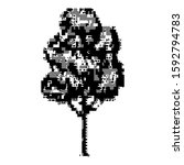 Ascii-art tree with glitch. Corrupted source code. Fatal programming error. Vector illustration - abstract ascii glitch background.