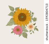 vintage floral illustration.... | Shutterstock .eps vector #1592804713