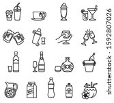 drink and beverage icons set... | Shutterstock .eps vector #1592807026