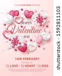 valentine's day party poster... | Shutterstock .eps vector #1592811103