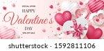 valentine's day sale banner... | Shutterstock .eps vector #1592811106