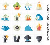 natural disaster icons | Shutterstock .eps vector #159285596