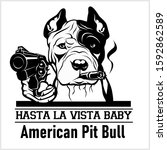 american pit bull dog with... | Shutterstock .eps vector #1592862589