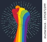 rainbow colored hand with a...   Shutterstock .eps vector #1592872399