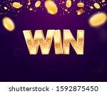 celebration of win on falling... | Shutterstock .eps vector #1592875450