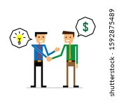 two skinny man are in agreement ... | Shutterstock .eps vector #1592875489