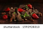 Broken Pieces Of Chocolate With ...
