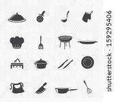 kitchen icons set   Shutterstock .eps vector #159295406