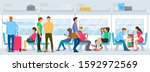 people sitting and standing... | Shutterstock .eps vector #1592972569