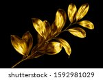 Tree Branch With Golden Leaves...