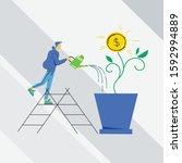 growing money tree vector...   Shutterstock .eps vector #1592994889