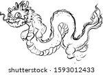 hand drawn silhouette dragon... | Shutterstock .eps vector #1593012433
