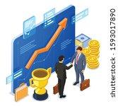 handshake business mans after... | Shutterstock .eps vector #1593017890