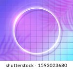 neon round frame on ultraviolet ... | Shutterstock .eps vector #1593023680