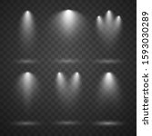 white spotlights set  bright... | Shutterstock .eps vector #1593030289
