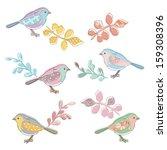 pattern bird   leaf | Shutterstock .eps vector #159308396