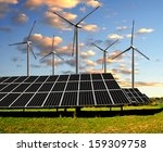 solar energy panels and wind... | Shutterstock . vector #159309758
