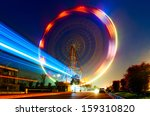 night  a rotating ferris wheel. | Shutterstock . vector #159310820