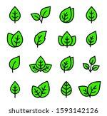 simple set of green line leaf... | Shutterstock . vector #1593142126