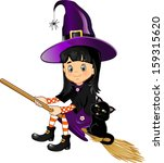 girl witch on a broom with her... | Shutterstock .eps vector #159315620