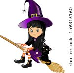 girl witch on a broom with her... | Shutterstock . vector #159316160