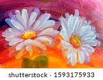 Oil Painting Daisy Flowers....