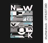 new york city text frame... | Shutterstock .eps vector #1593207280