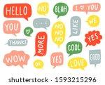 textured speech bubble signs.... | Shutterstock .eps vector #1593215296