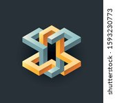 abstract isometric vector... | Shutterstock .eps vector #1593230773
