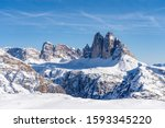 winter Mountain landscape in the Three Peaks Dolomites area near Toblach and Innichen, South Tyrol, Italy, landscape photography  - stock photo