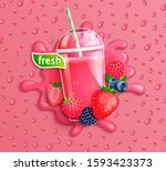 fresh berry blend juice with... | Shutterstock .eps vector #1593423373