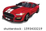 illustration of red  sport car... | Shutterstock .eps vector #1593433219